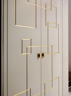 Luxury International Interior Architecture and Design project by Katharine Pooley. Wardrobe details. Gold Square Inset Design with rectangular gold handles. Wardrobe Interior Design, Wardrobe Door Designs, Wardrobe Design Bedroom, Door Design Interior, Bedroom Furniture Design, Wardrobe Doors, Home Room Design, Closet Designs, Bedroom Door Design