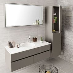 VitrA Memoria Vanity with Circular Bowl Modern White Bathroom, Modern Bathroom Design, Bathroom Interior Design, Bathroom Styling, Small Bathroom, Bathroom Designs, Master Bathroom, Vitra Bathrooms, Dream Bathrooms