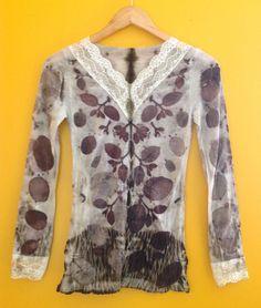 Leaf Print Eco Natural Dye Merino Wool Light Thermal Long Sleeve Top Shirt