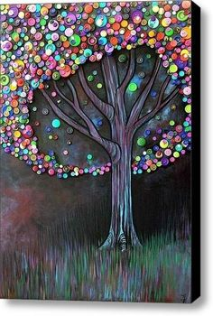 Wow! Could be lots of work, but this BUTTON TREE is gorgeous. I like how the leaves almost glow in comparison to the dark background & trunk. It looks like the grass may have done in pastel chalks.