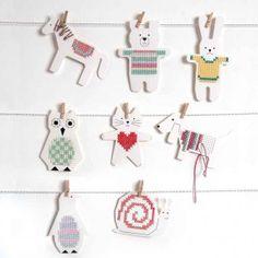 Stickkarton Pinguin / Bär / Hase / Eule - idee. #Rico Design