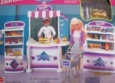 Barbie FUN FIXIN' SUPERMARKET Playset w Shelves, Freezer, Shopping Cart, Food & MORE! (1997 Arcotoys, Mattel)