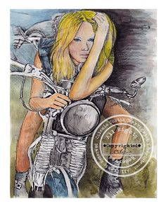 "Harley biker girl ""Ready to Ride"" print of my original ink art from my Art Studio available."