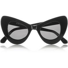 Illesteva + Zac Posen cat eye acetate sunglasses (4.995 ARS) ❤ liked on Polyvore featuring accessories, eyewear, sunglasses, glasses, black, cat-eye, illesteva glasses, cat eye sunnies, uv protection sunglasses and black lens sunglasses