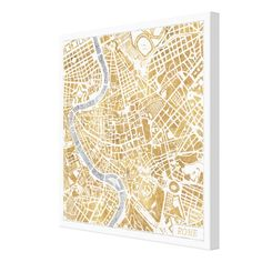 Gilded City Map Of Rome Canvas Print #Zazzle