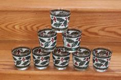 8 Vintage West Virginia Glass Christmas Holiday Holly Berry