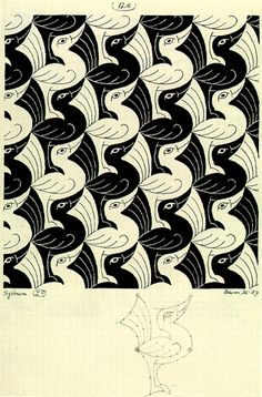 Birds, a tessellation by MC Escher, 1967                                                                                                                                                                                 More