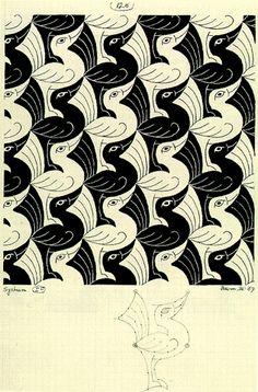 Birds, a tessellation by MC Escher, 1967