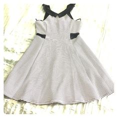 Material Girl Black and White Stripe Dress  Junior size. This dress will accentuate your waist  Material Girl Dresses