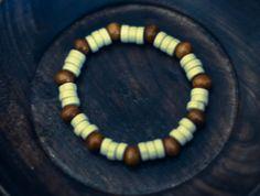 White and Brown Wood Bead Bracelet by WoodYouWear on Etsy, $5.00