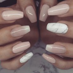 Marble and nude nails