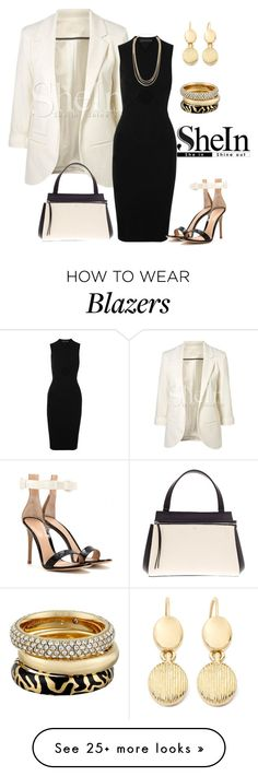 """Shein White Sleeve Blazer Contest"" by simplylsw on Polyvore featuring Alexander Wang, Gianvito Rossi, Monet, DailyLook, Michael Kors and CÉLINE"