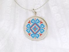 Cross stitch necklace blue and red ethnic ornament by skrynka