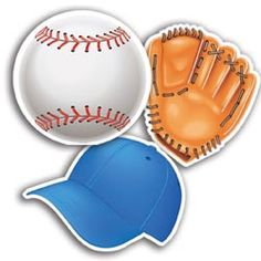 """Decorate your classroom, write the week's spelling words, or create student awards with these baseball themed cut-outs. Package of 36 pieces, 12 each of 3 designs: baseball, mitt and hat. 5"""" tall. UA"""
