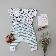 Blah Blah Tee + Stripe Overall - Fin & Vince. Little sapling toys rattle, Made by joy flash cards. Baby fashion, organic unisex baby clothes