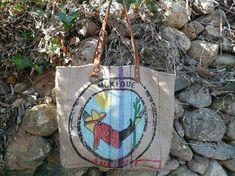 Sac a main en toile de jute de sac a café // sac bohème // sac cabas // fourre tout // sac recyclé // Mexique
