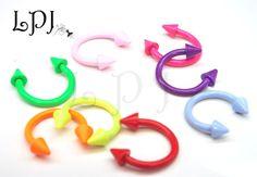 Neon+Horseshoe+Cone+Spike+Hoop+Ring+Lip+Nose+Ear+Tragus+Body+Piercing+UV+16g++#BodyJewelry