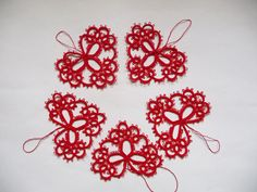 Five red tatting hearts Wedding decoration
