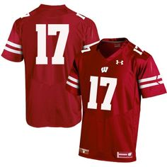 Under Armour Men's Wisconsin Badgers Red #17 Replica Football Jersey, Size: Medium, Team