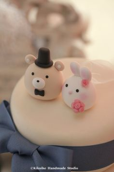 Bunny Rabbit and Bear wedding cake topper by MochiEgg on Etsy