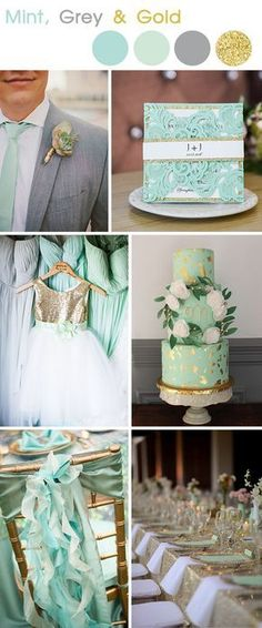mint ,grey and gold wedding spring and summer colors