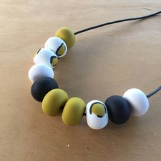 Polymer clay bead necklace. Polymer clay necklace. Mustard
