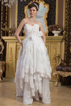 A-Line Pink Organza Asymmetrical Sweetheart Wedding Dress With Embroidery
