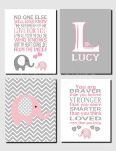 Girl Nursery Decor, Pink Gray, Elephant Wall Art, Kids Wall Art, Initial, The Strength of my Love, Baby Girl Room, Set of 4, Prints, Canvas by vtdesigns on Etsy