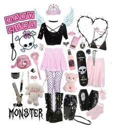 """""""lovely plague"""" by demonbabydoll ❤ liked on Polyvore featuring Hello Kitty, Böker, Please, Style Tryst, Precious Moments, Minimale Animale, Barbed, Monsoon, Couture by Lolita and Current Mood"""