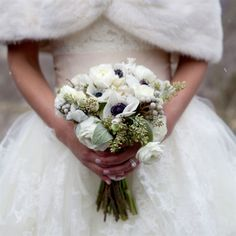 Black and White Anemone Bouquet | White Ranunculus and Anemone Bridal Bouquet, swap the white ranunculus with red roses