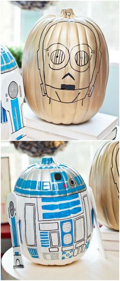 and Star Wars Pumpkins These DIY Star Wars pumpkins are so fun to make. Celebrate fall and Halloween with your own version of and These ARE the droids you& looking for! via DIY Candy Star Wars Halloween, Disney Halloween, Easy Halloween, Holidays Halloween, Halloween Treats, Halloween Pumpkins, Vintage Halloween, Halloween Decorations, Halloween Party