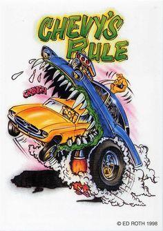 rat fink ed big daddy roth chevys rule rat fink ed big daddy roth chevys rule Cartoon Pics, Cartoon Art, Cars Cartoon, Monster Truck Drawing, Ed Roth Art, Rat Fink, Garage Art, Car Drawings, Big Daddy