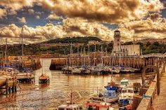 View across the harbour and marina toward the lighthouse, Scarborough, North Yorkshire, England