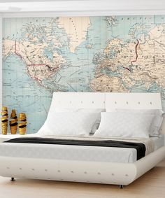 Loving this Vintage Shipping Routes World Map Wall Art on #zulily! #zulilyfinds