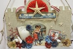 Denise Hahn Graphic 45 and Petaloo Summer of July Project Scrapbook Paper, Scrapbooking Ideas, Scrapbook Layouts, Firework Stands, Mixed Media Cards, Beach Cottage Decor, Graphic 45, Project Ideas, Projects