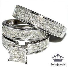 10K White Gold Diamond Ring Set Wedding Bridal Band Trio His Her