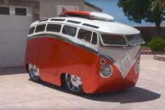cartoon bus. A cartoon come-to-life, this custom bus is what every kid-at-heart dreams of. It was made to resemble a Volkswagen, but the creator actually only used front and rear suspension parts from a 1965 Type 2 bus, while the rest was made o