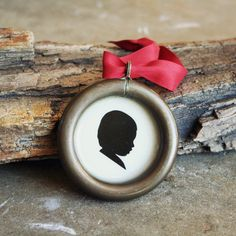 Custom Silhouette Ornament . Antique Brass by luckymebeads on Etsy