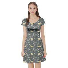 Whimsical garden bunny print dress. Super cute for easter and springtime.