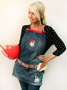 Free project instructions to make a denim apron Turn an old pair of jeans into a tasty apron!