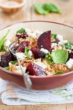 Beetroot and Spinach Couscous Salad
