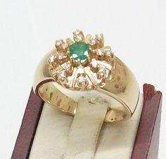 Vintage Ringe - Goldring 585 Diamant Brillant Smaragd 19,8 GR106 - ein…