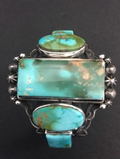 Rare-Beautiful-Native-American-Sterling-Silver-Royston-Turquoise-Bracelet-AT