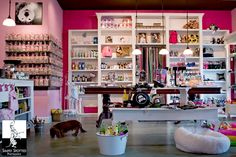 decor ideas: get large bookcases cheap at Ikea. Create doorway in the middle to get back to the cooking area (keeps it private). Use glass (fake) display jars, some covered cake displays for actual items. Use vintage signage Dog Grooming Salons, Grooming Shop, Luxury Dog Kennels, Bakery Decor, Pet Hotel, Dog Bakery, Dog Salon, Pet Boutique, Boutique Ideas