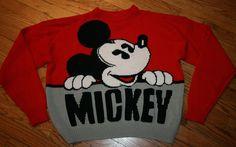 Vintage Mickey Mouse J.G. Hook acrylic red Sweater Adult Medium valentine disney #JGHook #crewneck