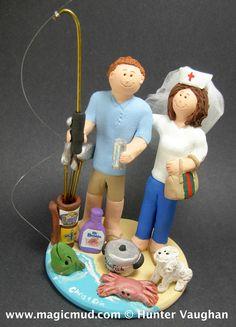 Fisherman Catches Nurse Bride Wedding Cake Topper http://www.magicmud.com   1 800 231 9814  magicmud@magicmud.com $235  https://twitter.com/caketoppers         https://www.facebook.com/PersonalizedWeddingCakeToppers   #nurse#nursing#wedding #cake #toppers #custom #personalized #Groom #bride #anniversary#fisherman #birthday#weddingcaketoppers#cake-toppers#figurine#gift#wedding-cake-toppers