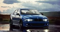 BMW E39 M5 blue with M3 side gills