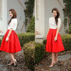 $47.52 Jacquard rose pleated midi skirt in red