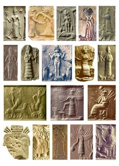 18 Seals of the mother goddess Inanna - from Sumerian culture. Note the Queen of the Night relief (see below) in the second row. The Semitic goddess Ishtar is a cognate of the earlier Sumerian goddess Innana Ancient Goddesses, Ancient Symbols, Ancient Aliens, Ancient Artifacts, Gods And Goddesses, Ancient History, Art History, Ancient Mesopotamia, Ancient Civilizations