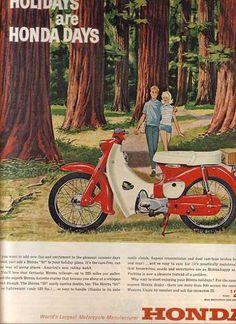 theswinginsixties: & is Honda Days& . 1963 Honda moto a . Classic Honda Motorcycles, Honda Bikes, Vintage Motorcycles, Honda Scooters, Honda Cub, Kawasaki Vulcan, Vintage Bikes, Vintage Ads, Soichiro Honda